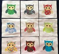 "Colorful Owl  Applique 6""  Quilt Top Blocks Cotton Fabric  Lot of 9"