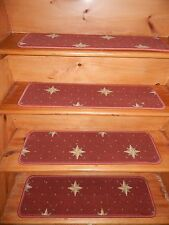 "13 STEPS  9""X 30"" Stair Treads Staircase Step WOVEN WOOL CARPET."