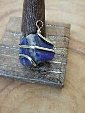 Lapis Lazuli Tumble Silver Tone Wire Wrap Pendant Natural Crystal Pendant