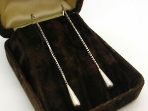 Long Pass Through 925 Sterling Silver Box Chain with Teardrop Pendants 7cm