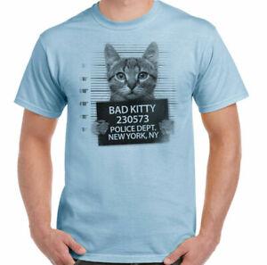 Cat T-Shirt Bad Kitty Mens Funny Mugshot Pussy Kitten Pet Animal Feline Jail Top