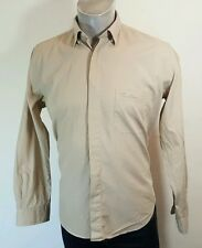 Thomas Burberry mens button down beige shirt Large
