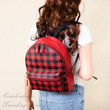 NWT Coach F38949 Medium Charlie Backpack with Gingham Print in Ruby Multi