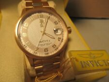 Invicta Mens Wrist Watch NIB NOS NWT Gold Tone Case & Band Free USA Shipping