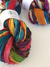 Sari de seda lazo, Mezclado Color. tejer cinta, tejer, 100g. vendedor de Reino Unido
