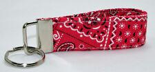 "Handmade Custom Designer ""Red Bandana"" Key/Chain Ring Fob"
