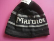 MENS MARMOT KNIT WINTER HAT POWDERDAY BEANIE SKI/SNOWBOARD STRIPE BLACK GRAY NEW