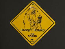 Basset Hound On Board Dog Breed Yellow Car Swing Sign Gift