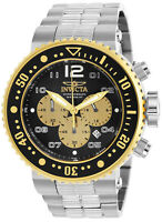 Invicta Men's Watch Pro Diver Black and Gold Tone Dial Steel Bracelet 25075