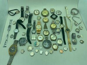Vintage Watch Parts & Movement Lot Bulova Whale, Gruen, Wittnauer, Dufonte +