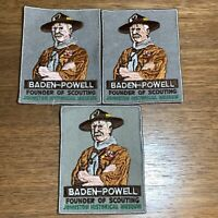 """Vintage Boy Scouts BSA Badge Patch Baden Powell Founder of Scouting 5"""" x 4"""" (3)"""