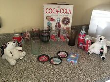 Coca Cola Collectibles: Glasses, Cans, Bottle, Bears, Coasters, Book