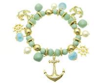 CRYSTAL AVE Aqua Gold ANCHOR Helm Nautical Stretch Ocean Bracelet NWT New