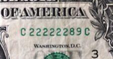 "SIX ""222222"" $1 Dollar Bill SERIAL NUMBER C 22222289 C SOLID ""2"""