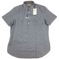 RM Williams Mens Gatton Button Down 1/2 Button Short Sleeve Shirt 3XL New