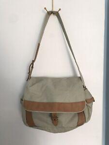 LL BEAN Canvas & Leather Saddle Messenger Bag Tan Leather Satchel Vintage
