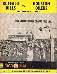 1967 9/17 AFL Football Program Houston Oilers Buffalo Bills Wittenborn 2 FG FAIR