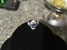 Oval Amethyst & Blue Opal Ring in Sterling Silver Size 7 EUC