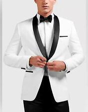 Hombre Blanco y Negro Trajes de Diseño Boda Novios Cena Esmoquin (Abrigo + )