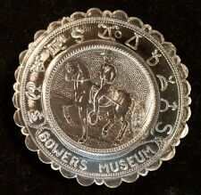Pairpoint Clear Glass Cup Plate -  Bowers Museum - Horse & Rider -  Vintage