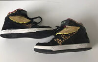 Adidas Black Leopard Print Patent Gold Wings High Top Trainers Size: UK 6 EUR39