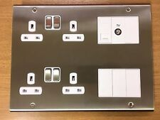Deta SD1278SCW Loung Plate 4G 13A Swiched Socket Co-ax Telephone Blanks
