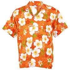 Hawaiian Shirt Aloha Big Plumeria Frangipani Holiday Sea Beach Orange XXL hf258o