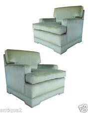 PAIR MID-CENTURY MONT STYL CELEDON ASIAN MODERN UPHOLSTERED TUXEDO LOUNGE CHAIRS