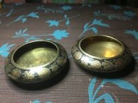 Pair vintage brass  dishes Indian / Islamic with black Enameled and Etched Decor