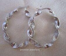 Genuine 925 Sterling Silver 2.5cm diameter Hoop Earrings