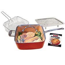 New! Red Copper Non-Stick Square Ceramic 5 piece Cookware Set