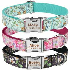 Flower Nylon Dog Collar Personalised Name ID Tags Engraved Pet Puppy Small Large