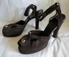 Vintage 1940s Platform Shoes Peep Toe High Heels