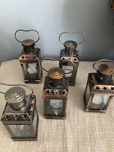 Set Of 5 Metal Candle Holder Lanterns
