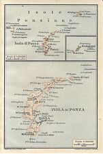 Carta geografica antica ISOLA DI PONZA e Ponziane TCI 1928 Old antique map
