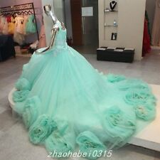 Elegant Mit Green Ball Gown Prom Dress Quinceanera Dresses Lace Up Puffy Gown