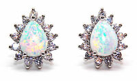 Sterling Silver Fire Opal And Diamond 2.98ct Pear Cut Stud Earrings (925)