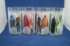 4 Star Trek Drinking Glasses 2008 frosted Burger King Collectible