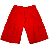 Men Oakley Software Flat Front Cargo Swim Water Hybrid Shorts Red SIZE Medium