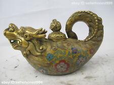 China Royal Bronze Copper cloisonne Enamel Dragon Fish Teapot Flagon Pot