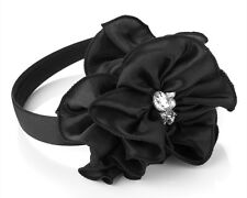 Black Flower, Faux Pearl & Crystal Fascinator Alice Hair Band