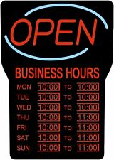 Business Open Sign Hours Lighting Illuminated Led Red Writing Black Frame New