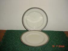 "2-PIECE MIKASA ""PALATIAL PLATINUM"" SALAD-SERVING 8 1/4"" PLATES/WHITE/CLEARANCE!"