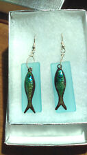 Fish Enameled earrings with BLUE Beach Glass  sterling earwire, Free Shipping