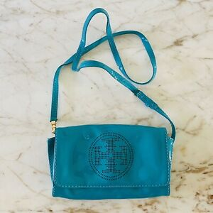TORY BURCH Solid Turquoise Patent Leather Crossbody Bag Perforated Logo