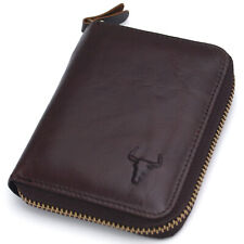 Men's Zip Around Leather Wallets Coin Purse Credit Card Wallet