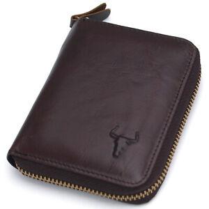 Men's Leather Wallets Zip Around Coin Pocket Credit Card Wallet MJ3552