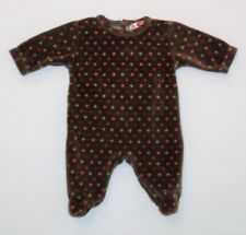 DPam French Boutique Multi Color Polka Dot Brown Velour Footed Romper, 0-3 mos.