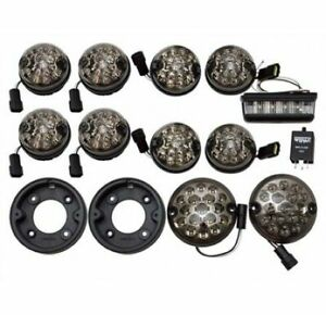Land Rover Defender 90 Smoked Led Upgrade Lamps Kit 73 mm Led Style Light