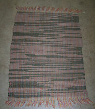 "Vintage Hand Woven Rag Rug #15 - Brown & Rose / Pinks about 23"" x 33"""